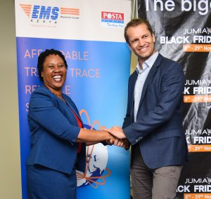Postal Corporation of Kenya, Courier Services General Manager, Elizabeth Mwaura and Jumia Kenya CEO, Sam Chappatte during the renewal of Jumia and Posta Partnership at Movenpick Hotel, Westlands. www.businesstoday.co.ke