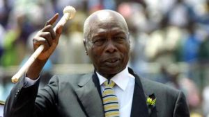 Former president, Daniel Arap Moi, waves to the crowd during a past Moi day celebration. The holiday had been scrapped off but was reinstated last year. www.businesstoday.co,ke