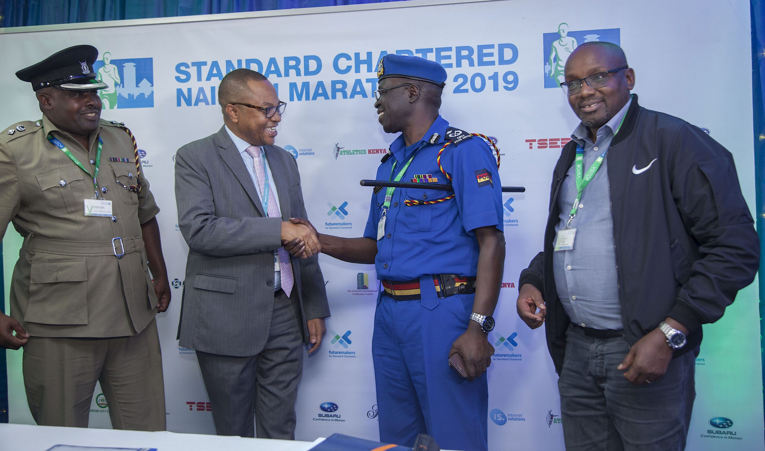 From left ,Supretendent of Police Nairobi Area Samuel Boit, Standard Chartered Marathon organising committee Chairman Peter Gitau, Nairobi Area Traffic Commander Joshua Omukata and Athletics Kenya Nairobi Region Chairman. www.businesstoday.co.ke