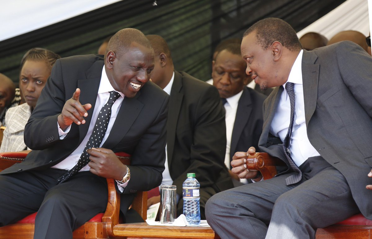 Uhuru and Ruto during their Tano Tena campaign. The Kenyan economy is on its deathbed overseen by the two as theft of public resources at all levels of government threatens the country's survival. [Photo/BT]