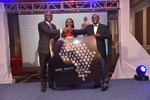 MMC Asafo Team Leader Edward Muriu (left), MMC Asafo Managing Partner Esther Omulele and Asafo & Co. Founding Partner Pascal Agboyibor during the launch of MMC Asafo. www.businesstoday.co.ke