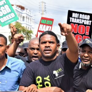 The SGR Protest in Mombasa. The CBK has indicted the government for its stand saying that the multibillion developments are not impacting the common man the way they should. [Photo/Mohammed Ali]