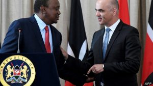 President Uhuru Kenyatta with Swiss President Alain Berset. The two signed an agreement in July last year for the repatriation of stolen wealth from Switzerland to Kenya. www.businesstoday.co.ke