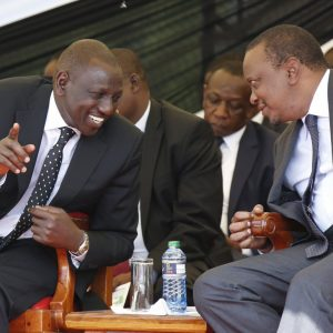 President Uhuru Kenyatta and his deputy William Ruto. Questions linger over most wealthy families calling the shots in politics over how they made the money.