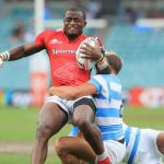 Kenya's Willy Ambaka tackled by Argentinian player in a past Shujaa match. He has bee included in the squad for Dubai and Cape Town sevens. www.businesstoday.co.ke