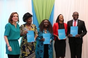 Diana van Maasdijk (Equileap CEO), Rachel Shebesh (Public Service CAS), Andia Chakava (Chairperson New Faces New Voices Kenya), Isis Nyong'o Madison (Media and technology entrepreneur) and Geoffrey Odundo (NSE Chief Executive Officer) during the launch of the Gender Equality Report. www.businesstoday.co.ke