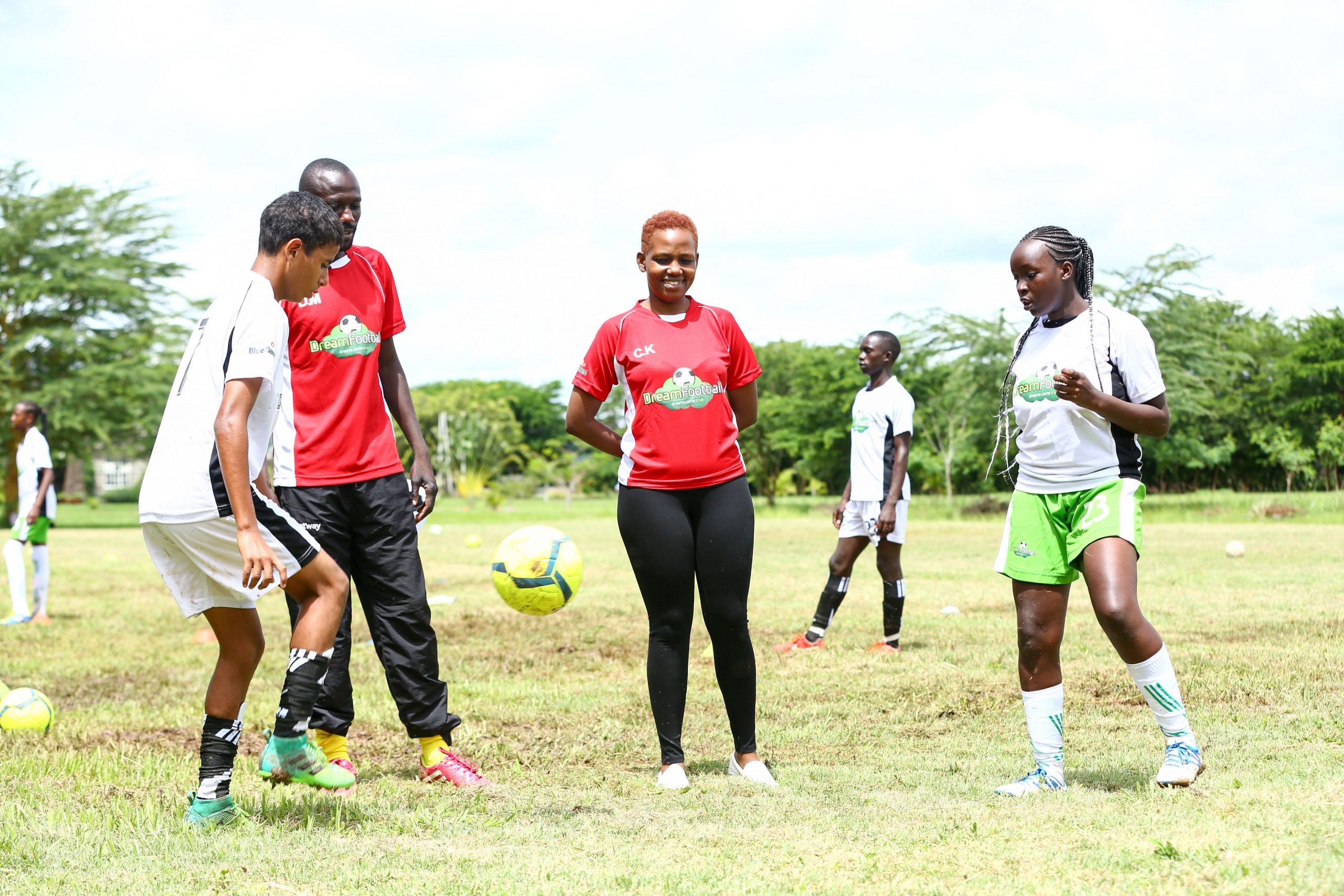 Christine Karimi (second from right) during a recent Dream Football training camp. Photo/ Dream Football