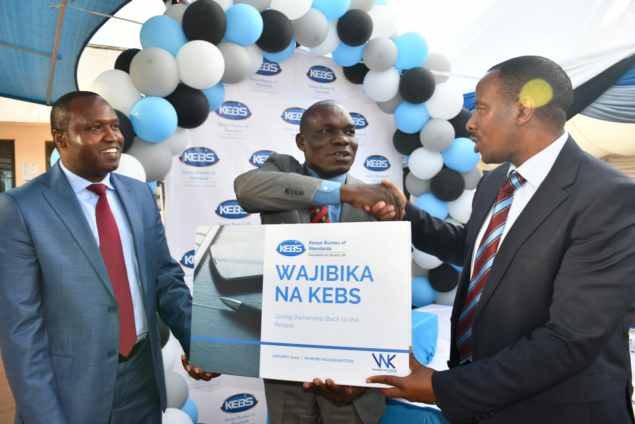 Industrilization PS Dr. Francis O. Owino (centre) joined by KEBS National Standards Council Chair Eng. Bernard Ngore (Left) and Lt. Col. (Rtd) Bernard Njiraini during the launch. www.businesstoday.co.ke