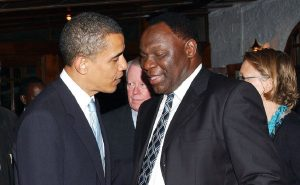 Dr Bitange Ndemo with former US President Barack Obama. Dr Ndemo says that value addition is the way to go with the government playing a role by creating incentives to attract investments. www.businesstoday.co.ke