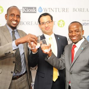 (L-R) Ismail Fahmy, CEO Water Trust Services Fund, Dr Hamed Beheshti, CEO Boreal Light GmBH and Samuel Kinyanjui, Co -Founder and Partner Waterkiosk Ltd during the launch of the water desalination project, estimated to cost Ksh 435 million. www.businesstoday.co.ke