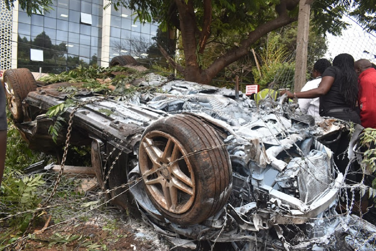 The wreckage of the car that burnt up after the accident on Lang'ata Road last weekend. Data on the ownership of the car was available to third parties raising questions over the fidelity of personal data. www.businesstoday.co.ke