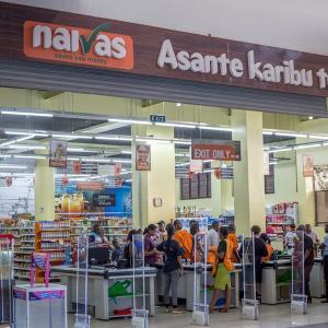 Shoppers at a Naivas Supermarket branch