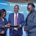 Sanlam Kenya Group CEO Dr Patrick Tumbo (centre) goes through the full-year results with Sanlam Life CEO Stella Njuge (Left) and Sanlam General CEO Caroline Laichema during the Sanlam Kenya full-year financial results announcement. Sanlam Group posted a Kshs 550million profit before tax. www.businesstoday.co.ke