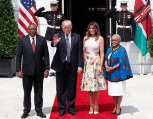 Uhuru Kenyatta, Donald Trump, Melania Trump and Margaret Kenyatta during Uhuru's previous visit to the United State. www.businesstoday.co,ke