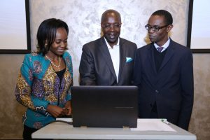 (R-L) Verus Global System Board Member Carole Kariuki, Verus Global Chairman Ken Wathome, and Dr. Gilbert Saggia, Verus Global System Board Member during the launch of an Electronic Property Management System. The system is a software solution for property management. www.businesstoday.co.ke