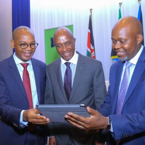 KCB Group CEO & MD, Joshua Oigara (left), with, KCB Group Chairman, Andrew Wambari Kairu (centre) and KCB Group Chief Finance Officer, Lawrence Kimathi, during the 2019 Full Year Financial results announcements held at Radisson Blu hotel. www.businesstoday.co.ke