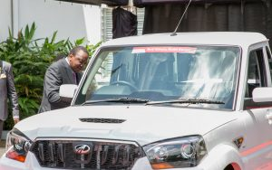President Uhuru Kenyatta with the locally assembled Mahindra Scorpio pick up. Mahindra Motors has joined the list of globally renowned automotive brands that have chosen Kenya as their home. www.businesstoday.co.ke