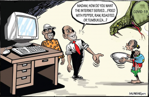 After President Uhuru Kenyatta's speech, Kenyans wondered whether they can eat 4G network. [ Cartoon / Mike Munene-NMG ] www.businesstoday.co.ke