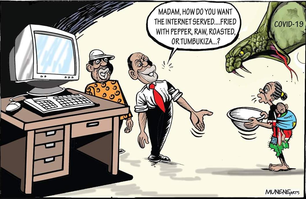 After President Uhuru Kenyatta's speech, Kenyans wondered whether they can eat 4G network. [ Cartoon / Mike Munene-NMG ] www.businesstoday.co.ke