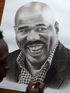 The pencil drawing that got Steve Harvey's attention. www.businesstoday.co.ke