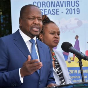 Health CS Mutahi Kagwe with the Health CAS during a briefing. Kagwe has made 4 appeals to Kenyans to save Kenya from the coronavirus spread. www.businesstoday.co.ke