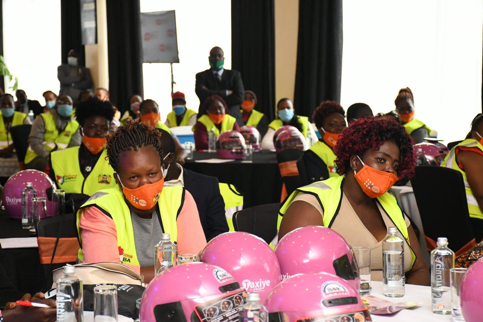 Image of female boda boda riders attending an event in Nairobi on October 26, 2020