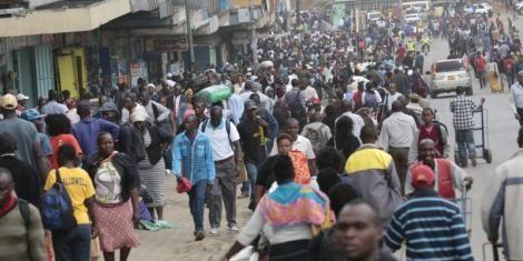 File image of Kenyans walking in Nairobi