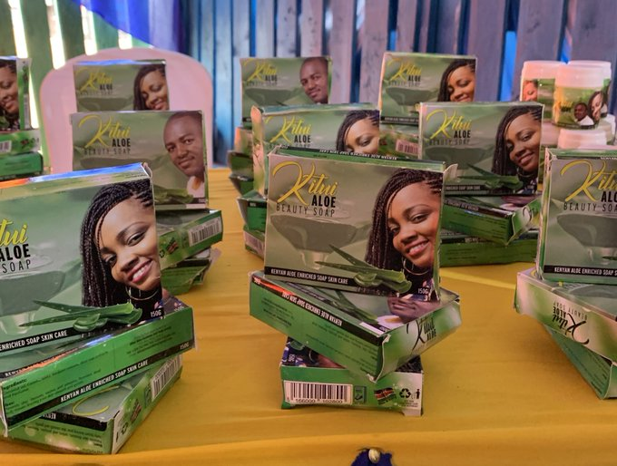 Samples of Kitui Aloe Beauty Soap displayed at the Kitui Expo 2020