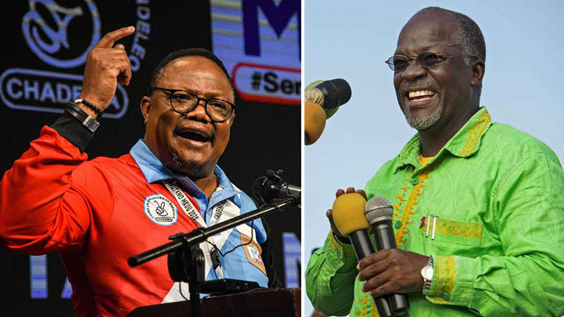 Tanzanian Presidential candidates Tundu Lissu (left) and incumbent John Pombe Magufuli