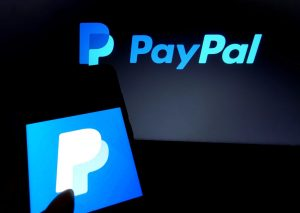 Paypal logo displayed on a phone
