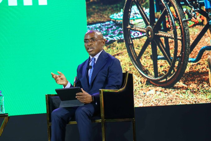 Safaricom CEO Peter Ndegwa speaks at an event to mark the company's 20th Anniversary on October 27, 2020