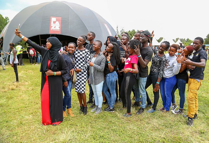 Youths take a selfie at a past Blaze summit. Blaze is undertaking a digital only career fair after scaling down operations during the pandemic.