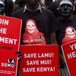 Environmental activists in a past demonstration agains the proposed 1,050 MW coal-fired power plant in Lamu