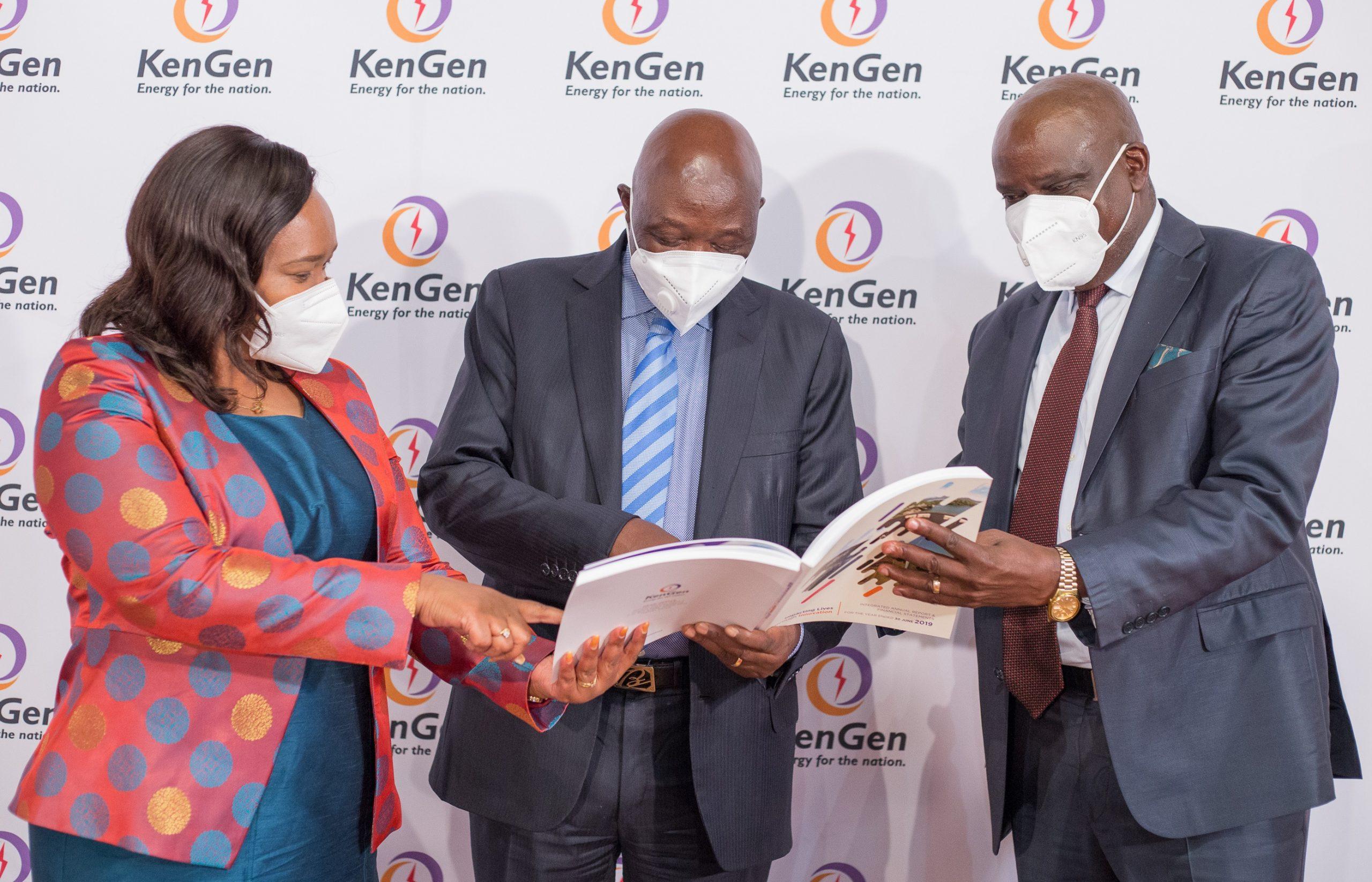 Energy Principal Secretary Dr Eng Joseph Njoroge (centre), KenGen Board Chairman, Mr Joshua Choge www.businesstoday.co.ke