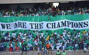 Gor Mahia fans celebrate at the Kasarani Stadium in Nairobi during a past fixture