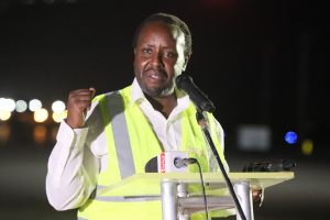Kenya Airways CEO Allan Kilavuka speaks at the launch of direct cargo flights from Mombasa at the Moi International Airport on November 25, 2020