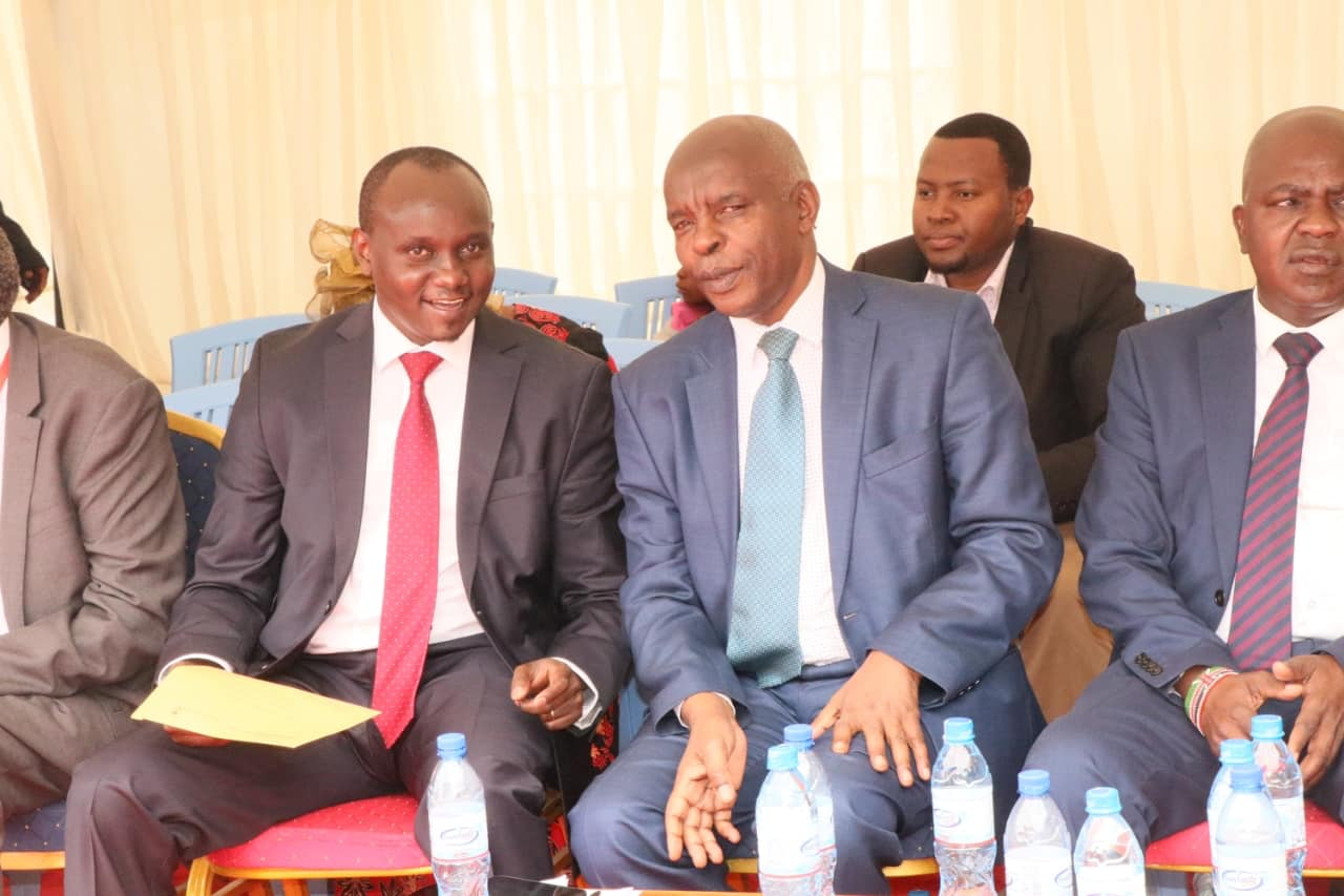 Makueni County Assembly Speaker Douglas Mbilu (left) with Governor Kivutha Kibwana at a past event