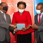 Minet Kenya Managing Director Sammy Muthui flanked by Sanlam Life Head of Corporate Business Sales Jacqueline Karasha and Sanlam Life Acting CEO Kevin Mworia at the Launch of RetireMed