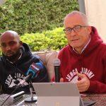 Moses Mathenge (DJ Moz) and JJF Chairman Jonathan Jackson at a media event for Jenga Jirani Festival