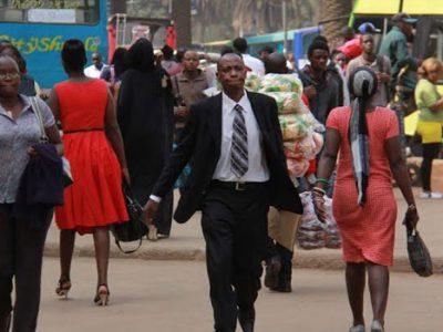 Kenyans pictured walking in Nairobi