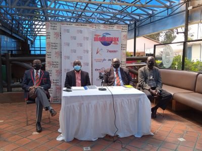 Kenya Rugby Union (KRU) and Mediamax officials at a press briefing on November 26, 2020