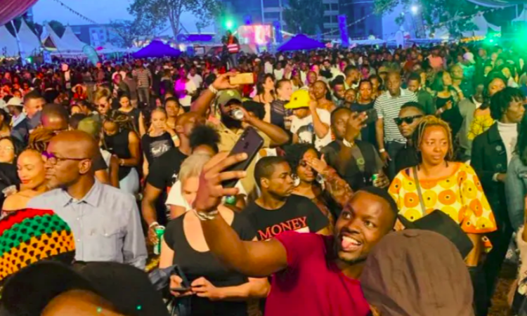 Revelers pictured at a past music festival