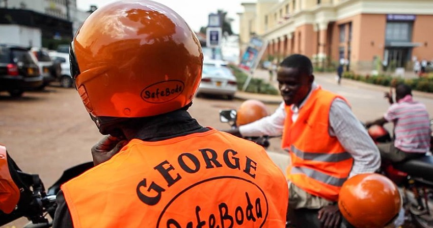 A Safeboda rider pictured in branded gear