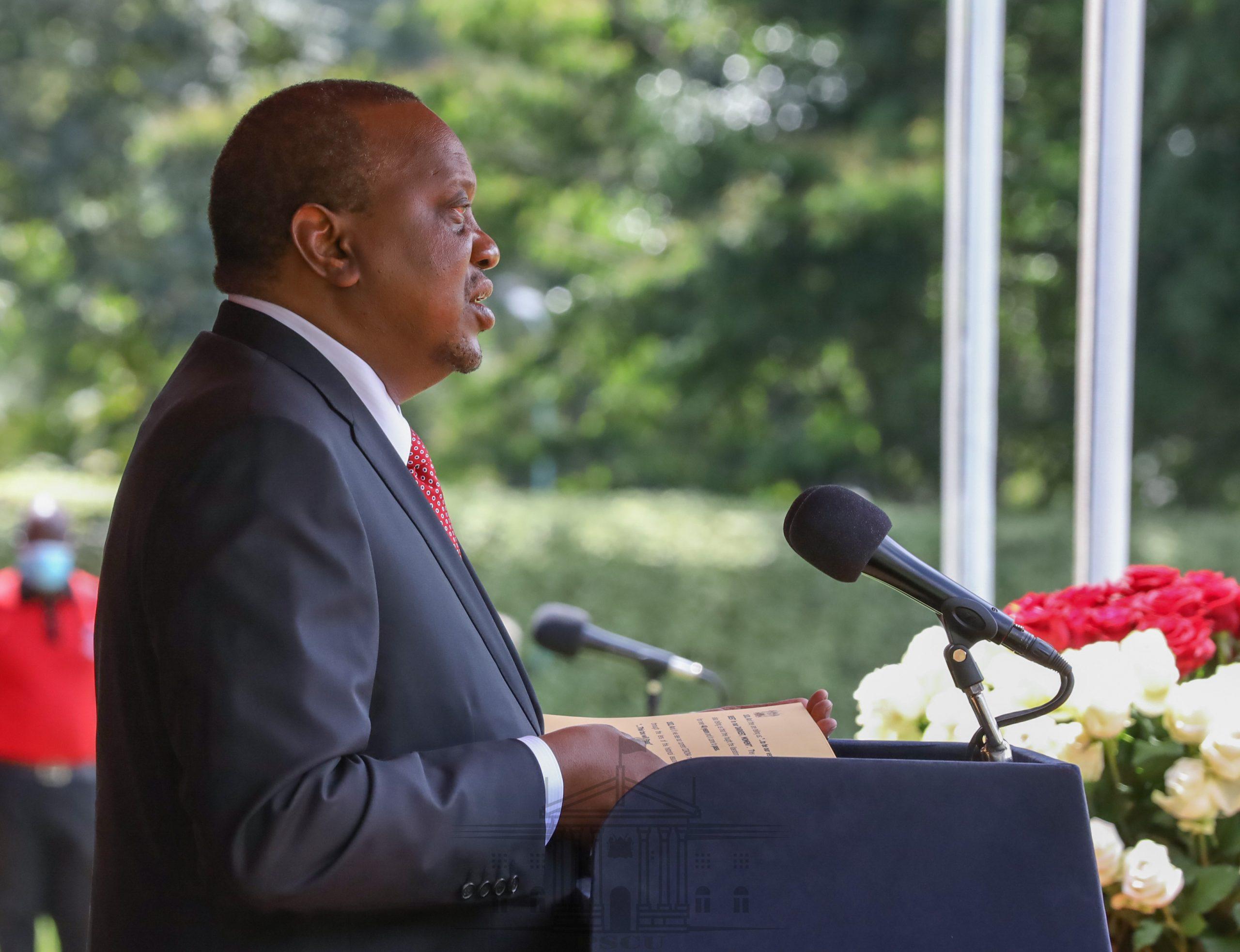 President Uhuru Kenyatta delivering a past address