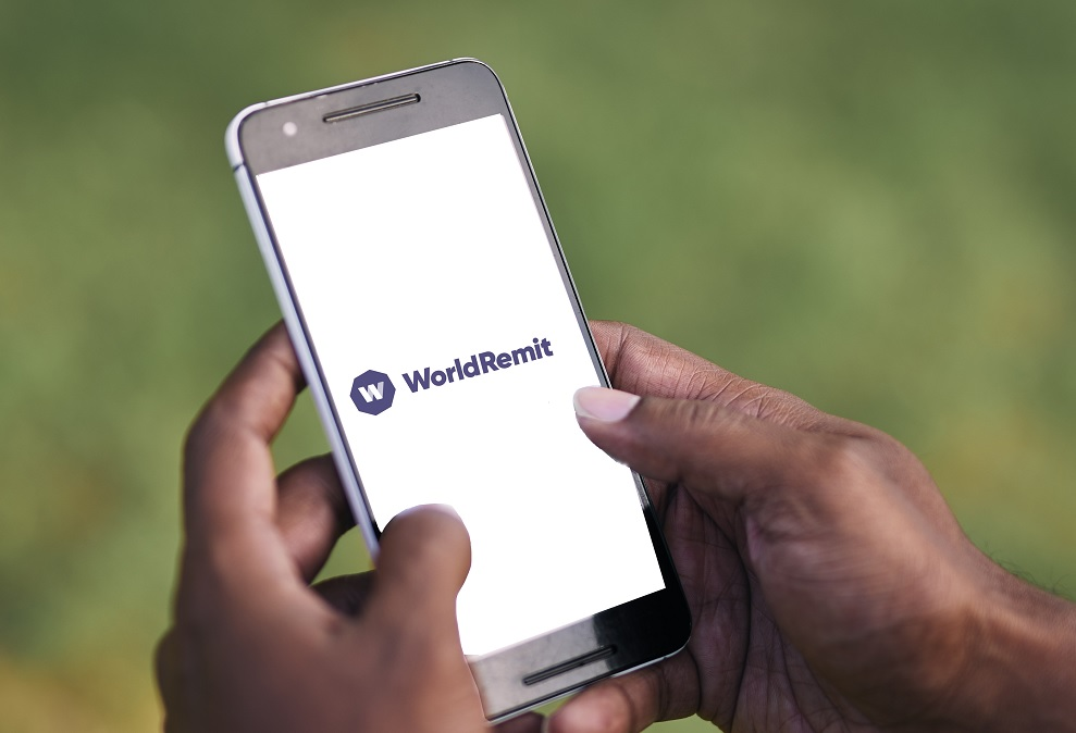 A WorldRemit user on a mobile device
