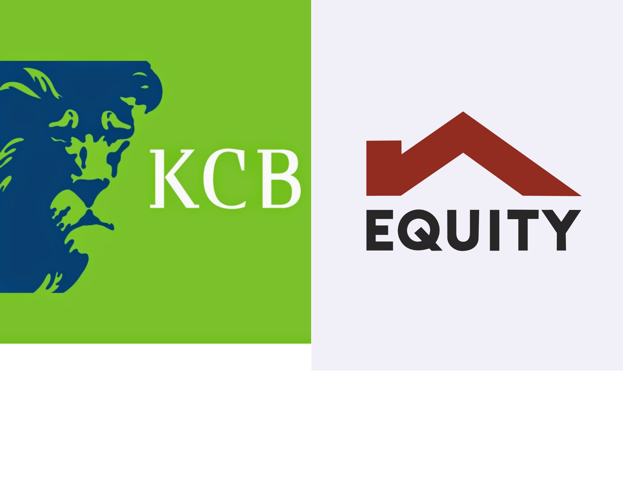 KCB Group and Equity Bank Group logos. The Tier 1 banks are closer than ever to Ksh1 trillion balance sheets.