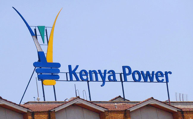 The Kenya Power logo displayed on a building