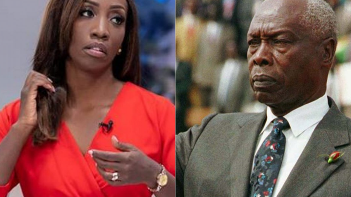 Yvonne Okwara (left) and the late former President Daniel Arap Moi