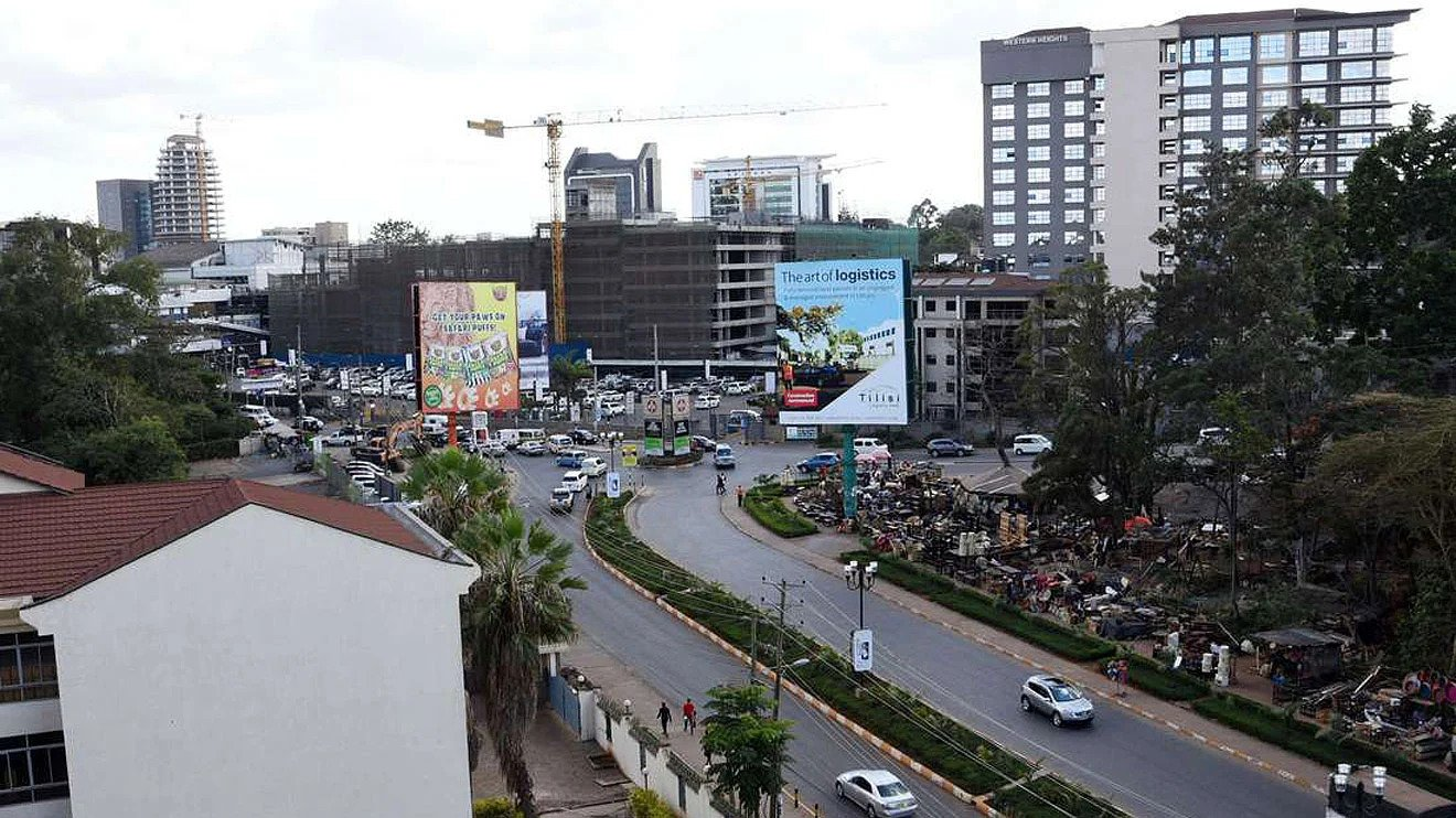 Aerial view of a section of Westlands, Nairobi