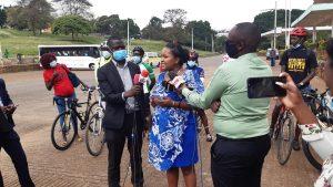 Samburu West MP Naisula Lesuuda addressing the press at Uhuru Park on December 3, 2020 after engaging cyclists. Lesuuda has introduced the Non-Motorized Transport Amendment Bill in the National Assembly.